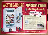 Original Print Ad 1951 WESTINGHOUSE 2 Page Frost-Free Refrigerator