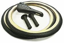 OLD SCHOOL BMX FREESTYLE TYRES, SEAT & AME TRI COMBO - BLACK