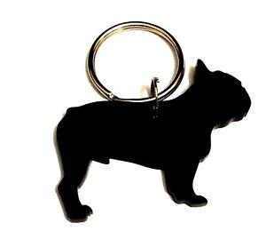 French Bulldog Male Dog Keyring Bag Charm Keychain Zipper Gift In Black