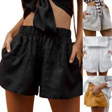 Été Femme Shorts 100% coton Taille elastique Mini Plage Vacances Shorts Loose
