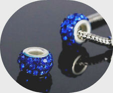 2 x Blue Rhinestone Glass Beads Charm European Bracelet Necklace 5mm Hole