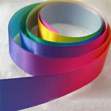 10 Yards Single Sided Rainbow Satin Ribbon Bows 25mm Craft Decoration DIY