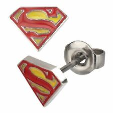 DC Superman Classic Logo Stud Earrings - Stainless Steel Comics Man of Steel