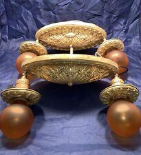 Pair of antique Art Deco raw yellow brass flush mount fixtures 77A