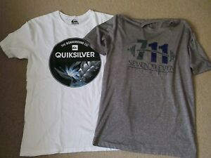 Mens 2 T-Shirt Bundle QuikSilver and NHL Size Medium