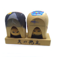 Boy & Girl kokeshi Japanese wooden antique statues traditional art vintage doll