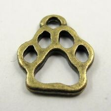 100pcs Antiqued Bronze Alloy Little Dog Footprint Pendant Charms Jewelry 31491