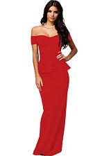 Stunning Red Peplum Off Shoulder Mermaid Fishtail Maxi Dress 14 UK
