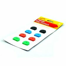 8x PLASTIC KEY COVERS CAPS TOPS TAGS ASSORTED COLOURED ID MARKER IDENTIFICATION