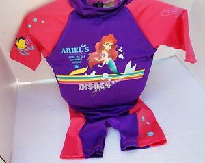 Disney Ariel Princess Floatation Suit Swim Girl Learn Sun Protection sz 30-50 lb