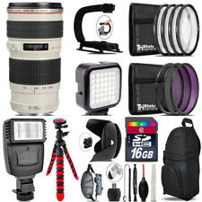Canon EF 70-200mm f/4L USM Lens - Video Kit +  Flash - 16GB Accessory Bundle
