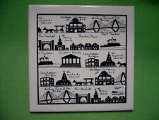 Charleston South Carolina FAMOUS LANDMARKS of Charleston decorative tile/ trivet