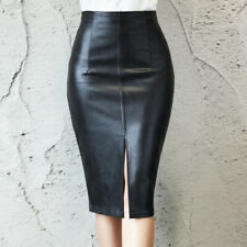 Sexy Women Formal Faux Leather Knee Length Front Slit Short Pencil Skirt Bodycon