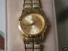 Nice New Q&Q by Citizen Gold Tone Lady Dress Watch w/Golden Dial