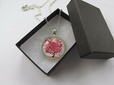 Handmade Red & White Love Heart Tree of Life Round Glass Pendant Chain Necklace