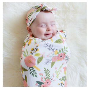 BABY SWADDLE WRAP BLANKET ALL IN 1 COTTON FREE HEADBAND FLORAL PINEAPPLE DESIGNS