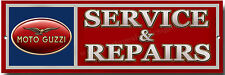 MOTO GUZZI SERVICE & REPAIRS METAL SIGN.MOTO GUZZI MOTORCYCLE GARAGE SIGN.