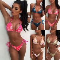Women Sequin Rhinestone Crystal Diamond Push-up Bra Bikini Set Swimsuit Swimwear