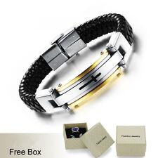 Verse Bracelet Cuff Bangle Men Jewelry 1Pc Braided Leather Alloy Cross Bible