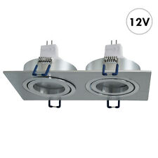 Luminaire Argent 14W Encastré Rectangulaire 12V Double LED MR16 Lumières Magasin