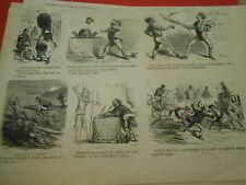 Gravure 1869 - Vignettes caricature Vélocipède à Eperon
