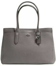 New Coach Bailey Carryall Tote in Pebble Leather Bag Grey Silver snap closure