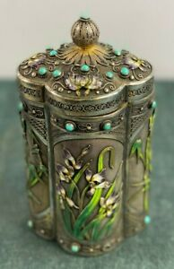 Antique Chinese Solid Silver Enamel Tea Caddy