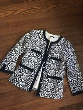 J.Crew Linen Embroidered Jacket Navy & Ivory - Size 6