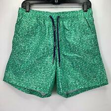 17e9b8f741 Calvin Klein Mens Printed Euro Length Drawstring Swim Trunks Green L