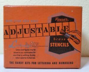 "Vintage Reese's Adjustable Brass Stencils One Set 3/4"" Figures NOS.         z3"