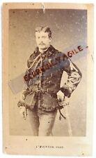 CDV PHOTO albumen PIERSON signé capitaine avec sabre veste avec bord fourrure