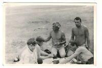 1970s nude men picnic on beach portrait people fashion Russian Vintage photo n