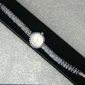 """22.35 CT.GENUINE AAA BLUE SAPPHIRE OVAL & ROUND STERLING 925 SILVER WATCH 7"""" IN."""