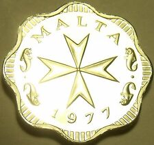 Rare Cameo Proof Malta 1977 2 Mils~Maltese Cross~Only 6,884 Minted~Free Shipping