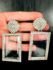 ZARA BEAUTIFUL  MASSIVE SPARKLING ICE RHINESTONES TRANSPARENT SILVER EARRINGS