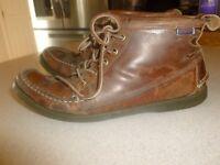 Sebago Docksides Vintage Mens Brown Leather Boots Shoes sz 9.5D