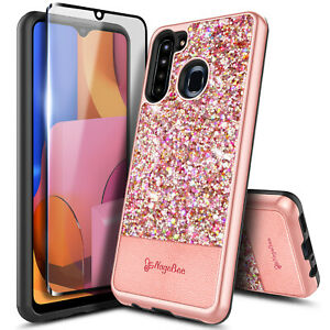 For Samsung Galaxy A21 Case Glitter Bling Phone Cover + Tempered Glass Protector