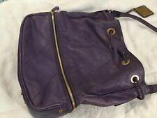 Escada Sport Purple Leather Shoulder Handbag Purse Bag