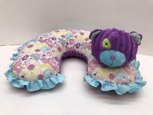 MUD PIE Baby Travel Head Neck Support Pillow Soft Plush Cushion Dog Purple, Blue