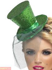 Smiffy's Fever Mini Tophat on Headband - Dark Green