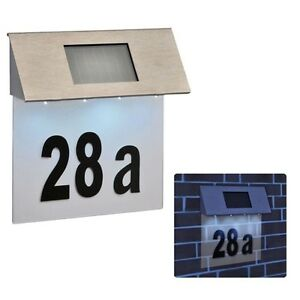 4 LED SOLAR POWERED STAINLESS STEEL HOUSE DOOR NUMBERS OUTDOOR WALL PLAQUE SL146