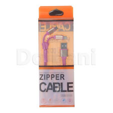 2 in 1 Zipper Micro USB and Lightning to USB Cable Pink for Apple Devices