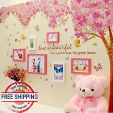 Tree Wall Sticker Butterfly XXL Pink Cherry blossoms Vinyl Art Home Decal Girls