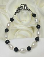 White Pearl Black Onyx Medical ID Alert Replacement Bracelet! Free Shipping!