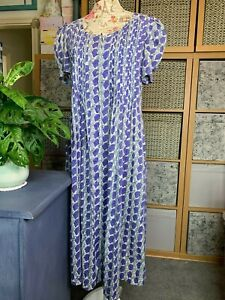 Penny Plain Purple Floral Button up Long, Dress Size 10, Short sleeve, USED VGC