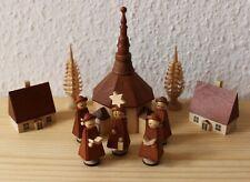 schöne Erzgebirge Kurrende Sternsinger Gruppe - Kirche, Häuser & Tannen um 1970