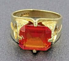 Womens Vintage Ring Orange Sapphire 9ct Gold Wedding Engagement Dress Jewellery