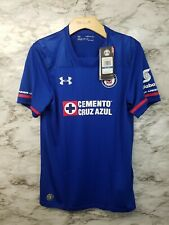 Under Armour Youth XL Cruz Azul Liga MX Home Soccer Jersey Blue 70$ MSRP New