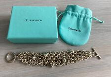 "TIFFANY & Co. 5 Multi Strand Chain Puffed Heart Toggle Bracelet 7"""