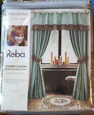 Reba Harmony Diamond Light Shower Curtain & Valance Brown Aqua Green NEW
